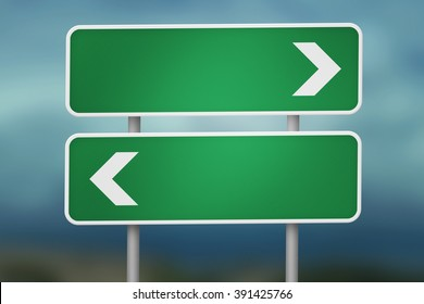 Right And Left Blank Road Sign