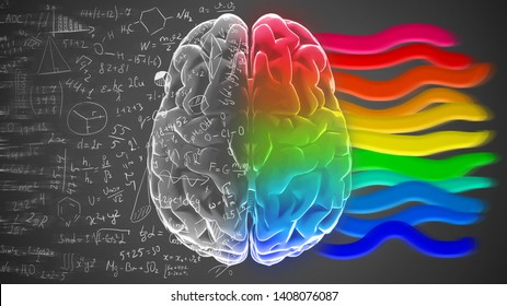 Right and left hemisphere of brain with mathematical formulas and colorful stripes. Creative and logical halves of human mind.