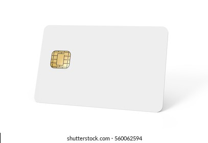 right tilt blank chip card, which can be designed in any way, isolated white background, 3d rendering