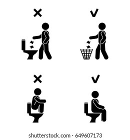 Right and wrong man people position in closet. Posture stick figure. Posing person icon symbol sign pictogram in toilet