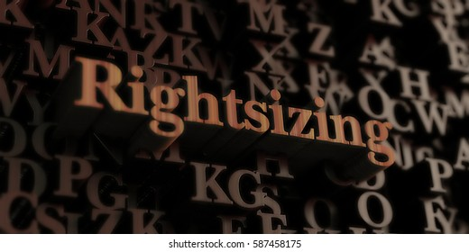 rightsizing - Wooden 3D rendered letters/message.  Can be used for an online banner ad or a print postcard.