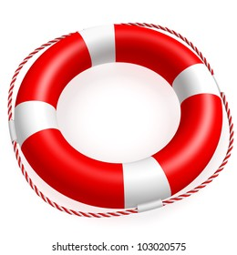 A ring buoy isolated on white background. Computer generated image with clipping path.