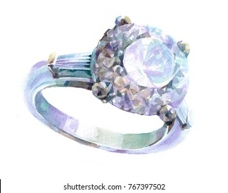 ring with a diamond  luxury decoration Watercolor  illustration isolated on white background