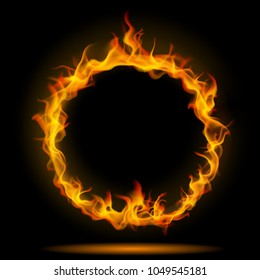 Ring of fire flame on black background