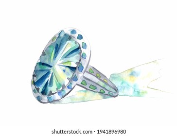 Ring with gemstone - watercolor illustration
