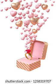 Ring of love. Pink and gold ring in pink and gold stripe jewelry box with small heart in pink and gold, on white background. Expression for love with the ring. 3d illustration rendering.
