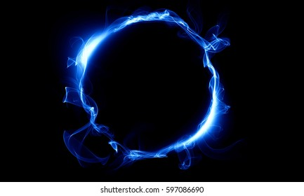 A ring made up of blue smoke on a black background. Fantastic design.