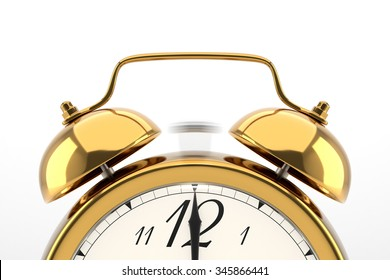 Ringing alarm clock. Golden table shelf vintage clock on white background. Deadline, wake up, time is up, act fast, sale reminder, hot prices concept.