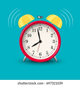 Ringing alarm clock red in bright color style isolated