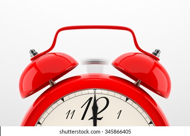 Ringing alarm clock. Red table shelf vintage clock on white background. Deadline, wake up, time is up, act fast, sale reminder, hot prices concept.