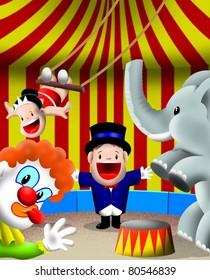 Ringmaster kid in circus, trapeze, clown, elephant. (MangoKids series)