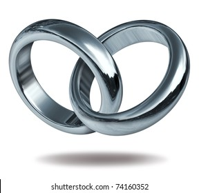 Rings linked together to form the silver and titanium shape of a heart representing the strong  concept of love and eternity.