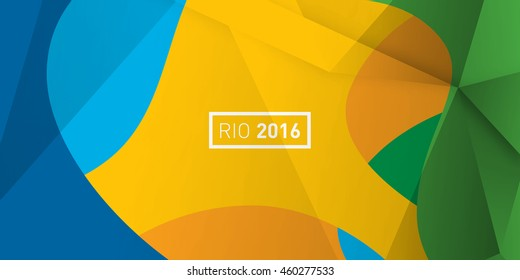Rio 2016 Brazil  abstract colorful Summer color Green, orange, yellow, blue. Summer Brazilian  background