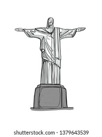 Rio de Janeiro / Brazil - 05/04/2019: (Hand drawn digital illustration of the statue of Christ the Redeemer in Rio de Janeiro Brazil).
