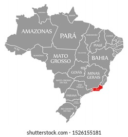 Rio de Janeiro red highlighted in map of Brazil