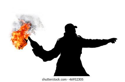 riot whit molotov cocktail