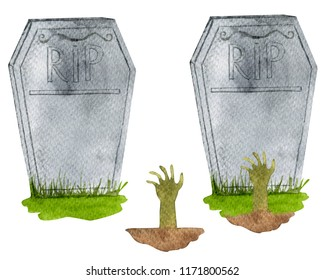 RIP tombstone. tombstone with Zombie hand. Watercolor Hand Drawn Illustration