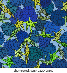 ripe blue blackberry with green leaves seamless pettern on blue background for site, blog, fabric.