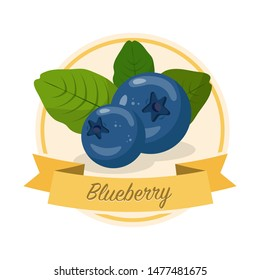 Ripe blueberries with name illustration. Organic jam tag. Eco juice circle sticker. Berry flavoured product label, logo. Summer seasonal harvest. Farming, agriculture. Raw fruit clipart. Raster copy