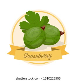 Ripe gooseberries with name illustration. Organic jam tag. Eco juice circle sticker. Berry flavoured product label, logo. Summer seasonal harvest. Farming, agriculture. Raw fruit clipart. Raster copy
