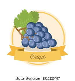 Ripe grape with name illustration. Organic jam tag. Eco juice circle sticker. Berry flavoured product label, logo. Summer seasonal harvest. Farming, agriculture. Raw fruit cartoon clipart. Raster copy