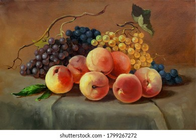 ripe juicy peaches and grapes on the table,handmade painting, oil painting on canvas, fine art, still life, food, vegetarian, dessert, fruit