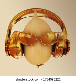 "Ripe onion with gold sun glass and gold headphones front ""face"". The film strip. On toned background"