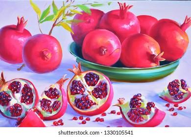 Ripe pomegranates still life oil painting