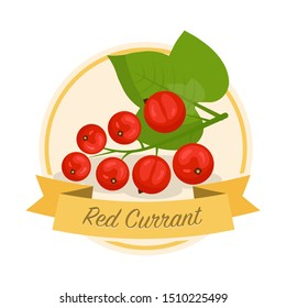 Ripe red currant with name illustration. Organic jam tag. Eco juice circle sticker. Berry flavoured product label, logo. Summer seasonal harvest. Farming, agriculture. Raw fruit clipart. Raster copy