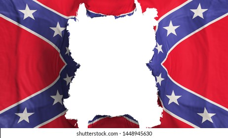 Ripped Confederate flying flag, over white background, 3d rendering