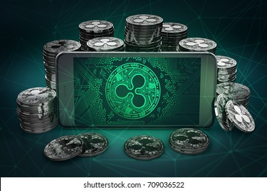 Ripple coin symbol on-screen among piles of Ripple coins. 3D rendering