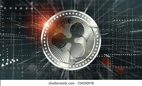 Ripple coin (XRP) Cryptocurrency in blurred virtual network 3D illustration.