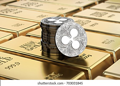 Ripple coins laying on stacked gold bars (gold ingots) rendered with shallow depth of field. Concept of highly desirable cryptocurrency. 3D rendering