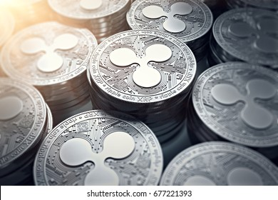 Ripple coins (XRP) in blurry closeup with sun flare. New cryptocurrency and modern banking concept. 3D rendering.