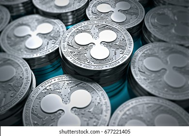 Ripple coins (XRP) in blurry closeup. New cryptocurrency and modern banking concept. 3D rendering.