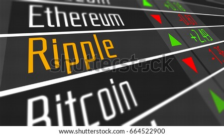 Ripple Crypto Currency Market as concept. Financial markets and virtual currency values 3D Illustration.
