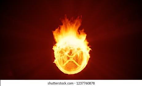 Ripple cryptocurrency burning in fire. Gold coin burns down. Red bearish market decline, crash and blockchain bubble. Crypto capitalization in flames concept 3D illustration. 4K