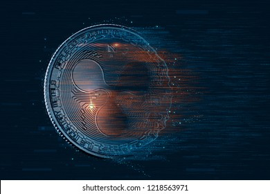 Ripple digital currency. 3D illustration. Contains clipping path.