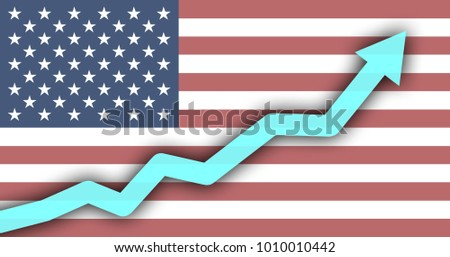 Rise Diagram Against Background Usa Flag Stock Illustration