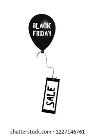 Rising balloon with the text black Friday hanging on a card with Sale. 3d rendering