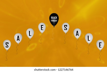 Rising balloons with the text black Friday and the letters Sale. 3d rendering