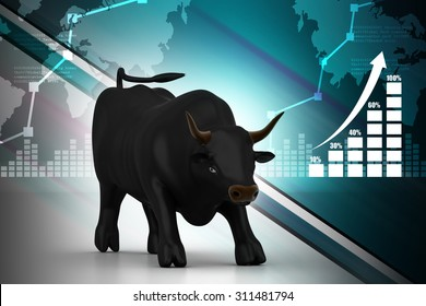 Rising black business bull in color background