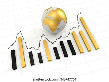 Rising chart with golden globe, 3d render, white background