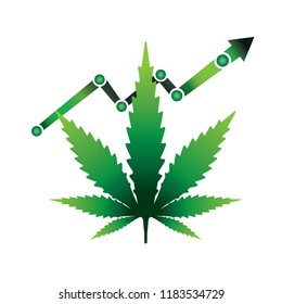 A rising graph with marijauna cannabis leaf outline illustration.