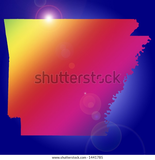 Rising star over one of the 50 US states: Arkansas. More with keyword Group2.