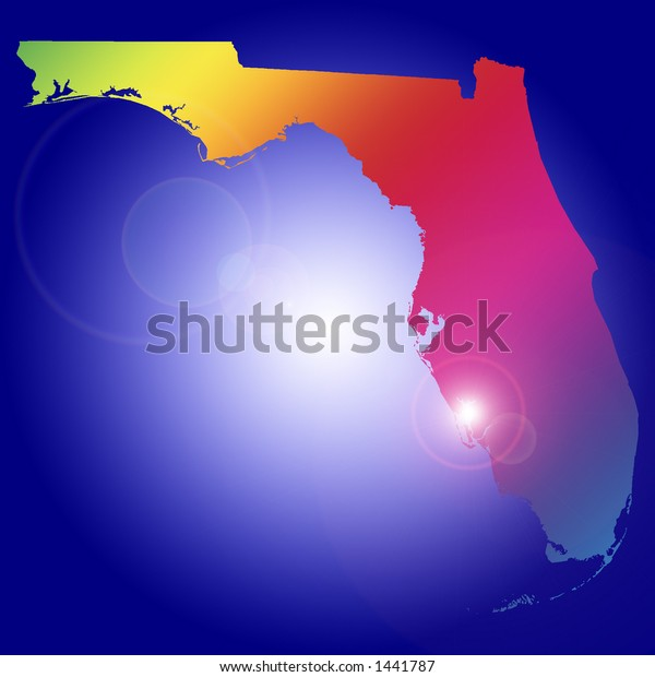 Rising star over one of the 50 US states: Florida. More with keyword Group2.
