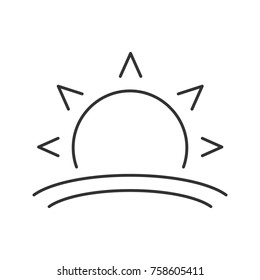 Rising sun linear icon. Morning. Thin line illustration. Dawn. Contour symbol. Raster isolated outline drawing