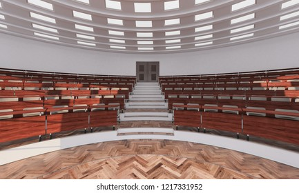 Rising Tiers of Seats in a Conference Hall 3d rendering