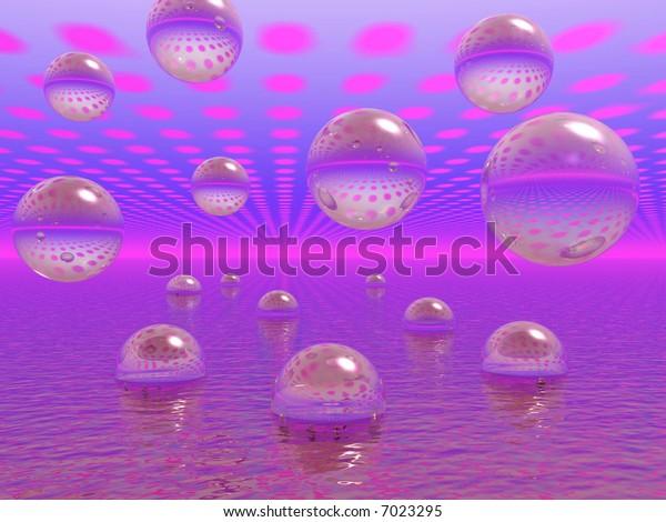 Rising water balls - digital artwork.