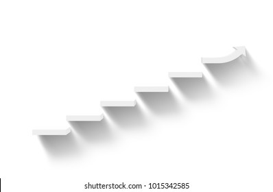 rising white stairs on white background with shadow, business growth, 3d rendering
